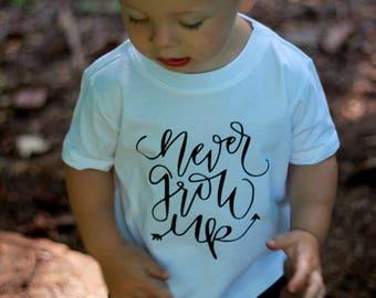 Never Grow Up Boy First Birthday Baby Shirt Adventure Toddler Hiking Camping Little Man Tee Shirt 6MO 12MO 18MO 24MO