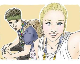 Couple portrait, lovers portrait, custom portrait. Cute selfie into portrait. blond cute girl and boy