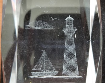 3D Laser Crystal Collection Lighthouse and Sailboat