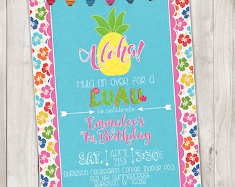 Aloha Luau Birthday Party Invitation