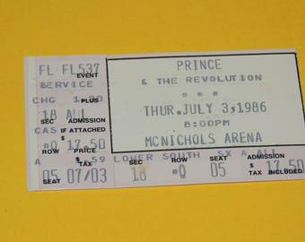 1986 PRINCE The Revolution Concert Ticket Stub