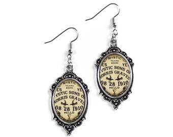 Ouija Board Silver Glass Cameo Earrings
