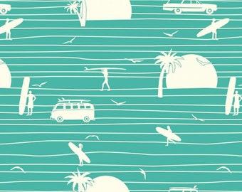 Summer (Main Print) - Turquoise - Summer '62 - Jay Cyn for Birch Fabrics -  Organic Poplin Cotton Fabric - Pond - Fabric By the Half Yard