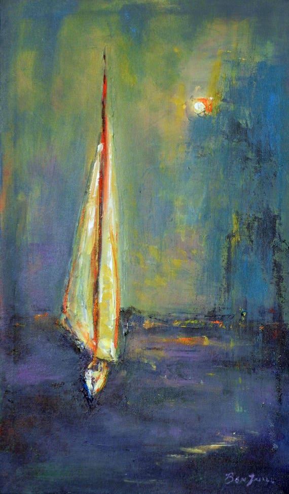 Sailboat Painting - Original Painting modern art - 24x14 by BenWill