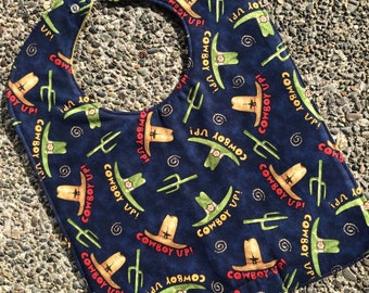 TODDLER or NEWBORN Bib: Cowboy Up on Blue, Personalization Available