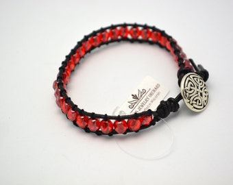 Handmade Leather Bracelet of Red & Black - Great for Badger Fans! Woven Bracelet w/ Button Clasp. Red and Black School Colors Bracelet.