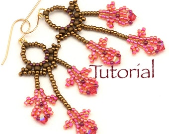 Seed Bead Earrings Orchid Filigree Tutorial Instant Digital Download