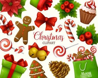 Christmas clipart. Christmas clip art collection. Holiday clipart. Vector art.