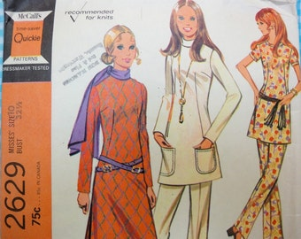 Vintage 1970 McCalls Sewing Pattern 2629 Slim Tunic Top, Pants, Misses 10, Bust 32.5