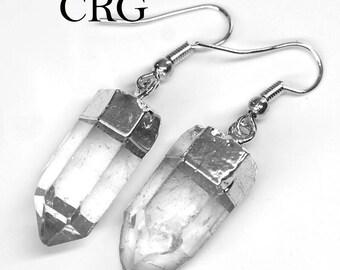 Silver Plated Quartz Point Earrings (ER9BT)