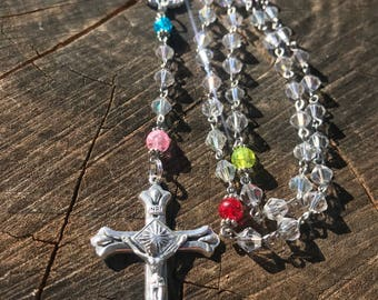Crystal Catholic Rosary With Colorful Our Father Beads. Miraculous Mary Centerpiece. Rosary For Her. Catholic Gift. Traditional 5 Decade