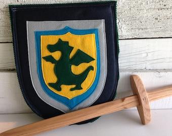 Dragon Knight Shield NAVY and GREEN - Halloween Costume - Kid Costume
