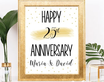 Happy Anniversary Sign - Printable - Customizable Text - Simple Black and Gold Confetti Minimalist Theme - 8.5x11 Digital Download