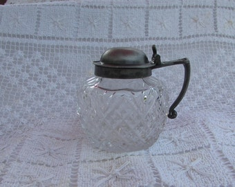Antique Silver Plate/diamond cut Mustard Pot