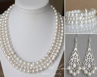 Bridal Jewelry Set, Pearl Jewelry Set, Pearl Wedding Jewelry Set, Pearl Necklace, Cuff Bracelet, Long Earrings for bride e04-b10-n04