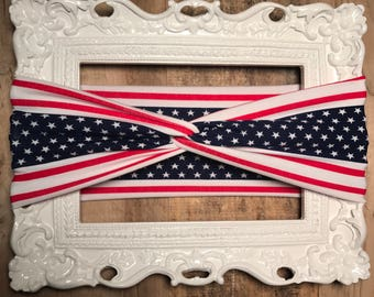 FOURTH OF JULY! Red White Blue American Flag Infant/Toddler/Adult Twist aTurban Headband
