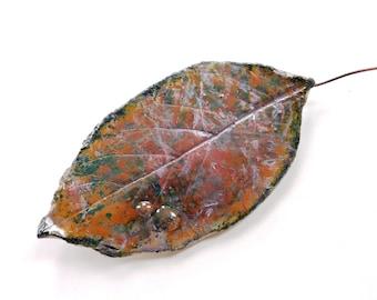 Ceramic leaf wall art ~ ceramic leaf raku leaves hanging wall decoration boho leaf art sculpture woodland gift for Mum tree lover gift