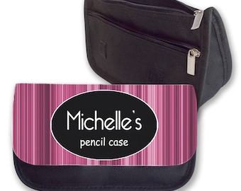 Personalised Girls Pink Add your Name Pencil Case Make Up Bag Back To School