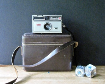 Kodak Instamatic Camera, Instamatic 104, Leather Camera Bag, 1960's '60s, Camera Collector, Vintage Prop Camera, Steampunk, Vintage Camera