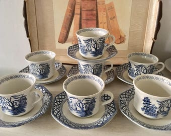 Vintage J&G Meakin Blue Willow Teacup and Saucer Set of 7