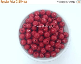SALE 12mm Dark Red Faceted ROUND Disco Chunky Beads Set of 20 or 50,  12mm Red Beads, Faceted Bubble Gum Beads, Gumball Beads, Acrylic Beads