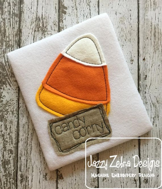 Candy corny shabby chic applique embroidery design - Candy corn appliqué design - halloween appliqué design - candy appliqué design
