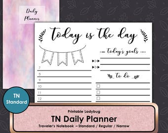 Daily Planner,TN,Travelers Notebook,Travelers Journal,Bullet Journal,TN Inserts,Travelers Notebook Inserts,Standard TN,Standard Travelers