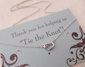 Silver, gold or rose gold Love Knot necklace..Tie the Knot necklace....dainty, everyday, simple, birthday,  wedding, bridesmaid jewelry