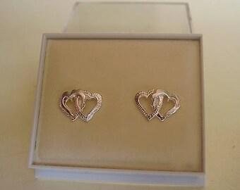 Sterling silver Double Heart Stud Earrings
