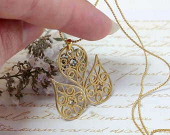 Women's Mother Gift, Gold Teardrop Necklace with Crystals, Gold Filigree Tulip Teardrop Necklace, Pendant Necklace, Statement Necklace