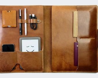 MacBook Pro 13 Case Leather, iPad Pro 12.9 Leather Sleeve Everyday Carry Organizer, Leather Padfolio, 13 Laptop Sleeve, MacBook Leather Case