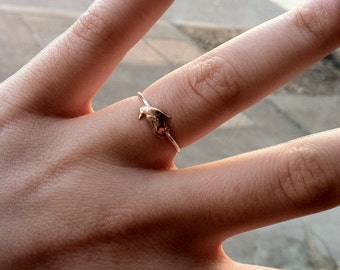 Tiny Penguin Sterling Silver Stacking Ring - Brass on Silver - custom made to order