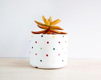 Polka dots Ceramic plant pot, Ceramic planter, Succulent planter, Ceramics & pottery, Flower plant pot, Planter flower pot, cute pots