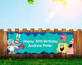 Spongebob,Banner,Birthday,Spongebob Party,Party
