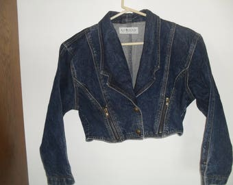 Retro 1980s Lawman Womans Dark Denim Jacket Lawmans