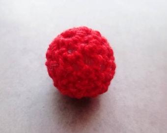 x 1 bead Crochet / knit red 15mm