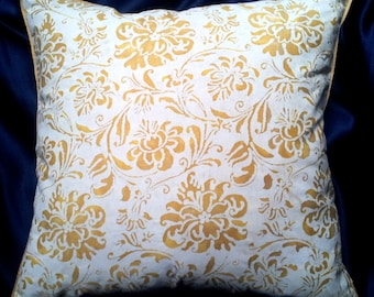 Fortuny Cimarosa in Yellow & White Throw Pillow Cushion Cover - Made in Italy