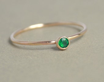 Emerald ring. gold ring. ONE delicate stackable birthstone ring. mothers ring. 14k gold filled. engagement ring.