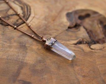 Quartz crystal necklace, quartz point necklace, electroformed quartz