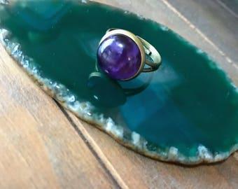 Amethyst ring , gemstone ring , natural stone ring