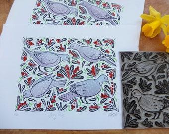 Berry Thief Bird Original Lino Print