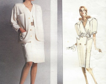 80s Nina Ricci Womens Unlined Jacket & Double Breasted Dress Vogue Sewing Pattern 2130 Size 14 Bust 36 UnCut Vogue Paris Original Patterns