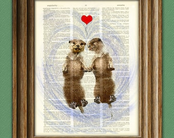 The Otter Lovers holding hands in the water illustration beautifully upcycled dictionary page book art print