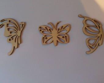 Set of 3 wooden butterflies