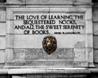 Library Photography, Gift for Book Lover, St. Louis Central Public Library Print, Black and White Fine Art Print, Henry Longfellow Quote