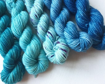 Blue Faced Leicester Sock minis. Blue minis on our Impudent Sock base