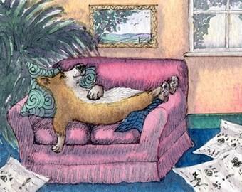 Corgi dog 8x10 print - constructive procrastination