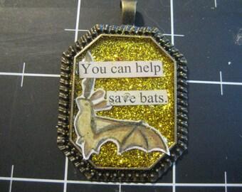 100% Donation: Gold Glitter Bat Pendant, You Can Help Save Bats, all proceeds go to Bat World Sanctuary