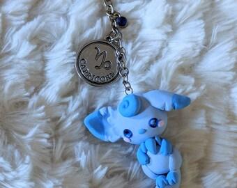 Capricorn Astrological Zodiac Fox Keychain Charm