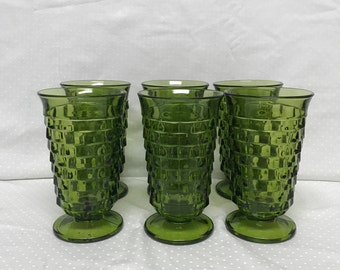 Set Of Six Indiana Glass Whitehall Avocado Green Ice Tea Footed Tumblers